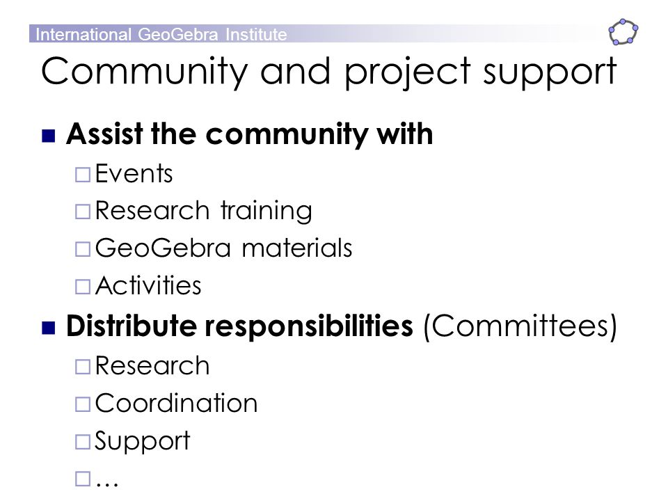 Community and project support