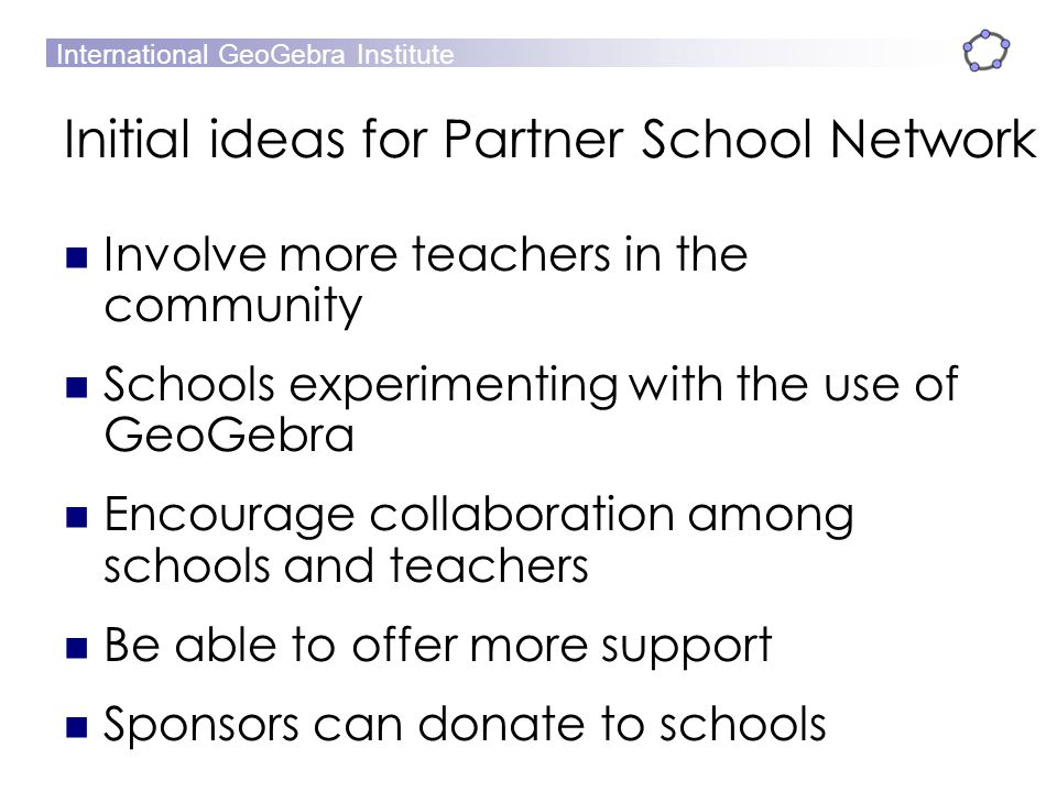 Initial ideas for Partner School Network
