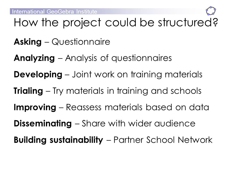 How the project could be structured
