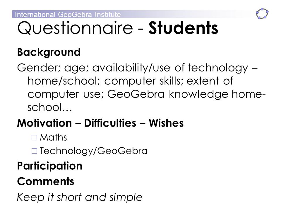 Questionnaire - Students