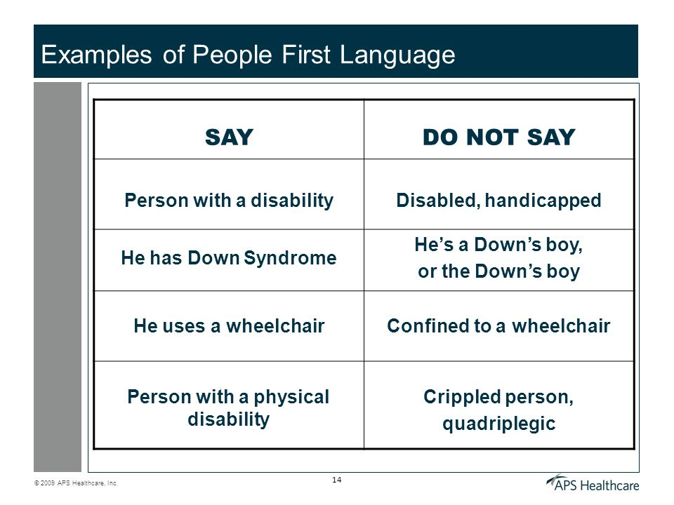 Examples of People First Language