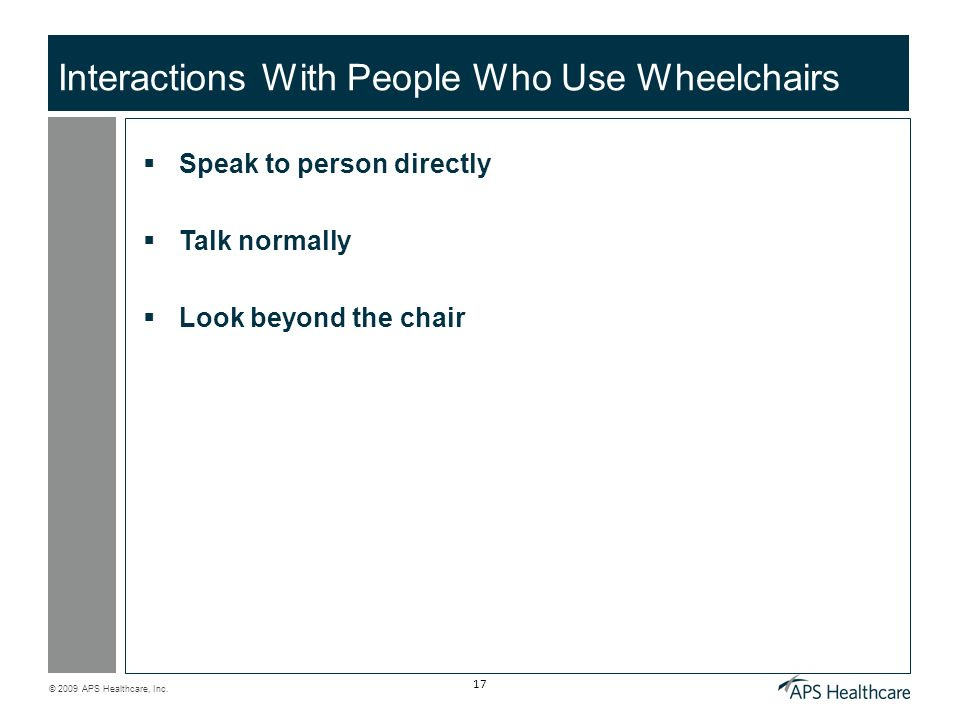 Interactions With People Who Use Wheelchairs