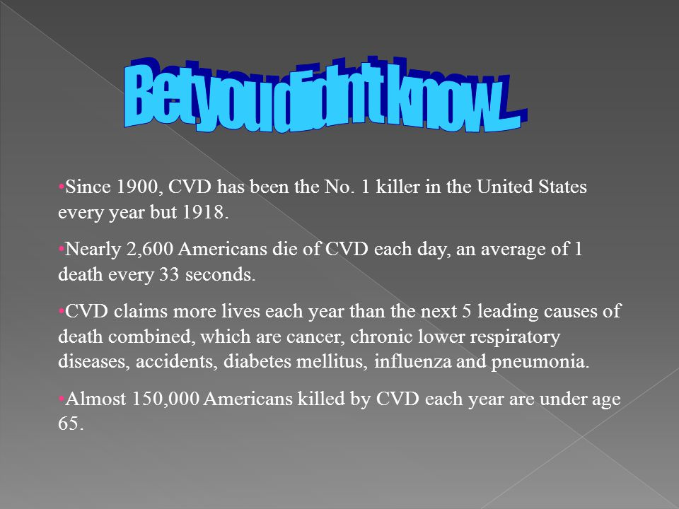 Bet you didn t know.... Since 1900, CVD has been the No. 1 killer in the United States every year but 1918.