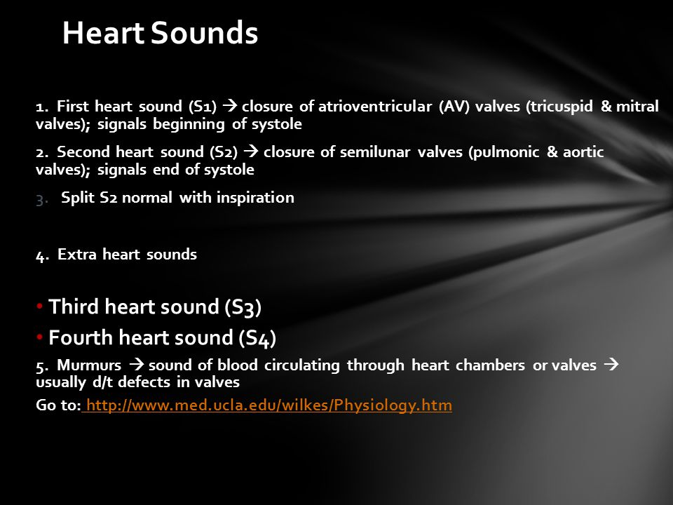 Heart Sounds Third heart sound (S3) Fourth heart sound (S4)