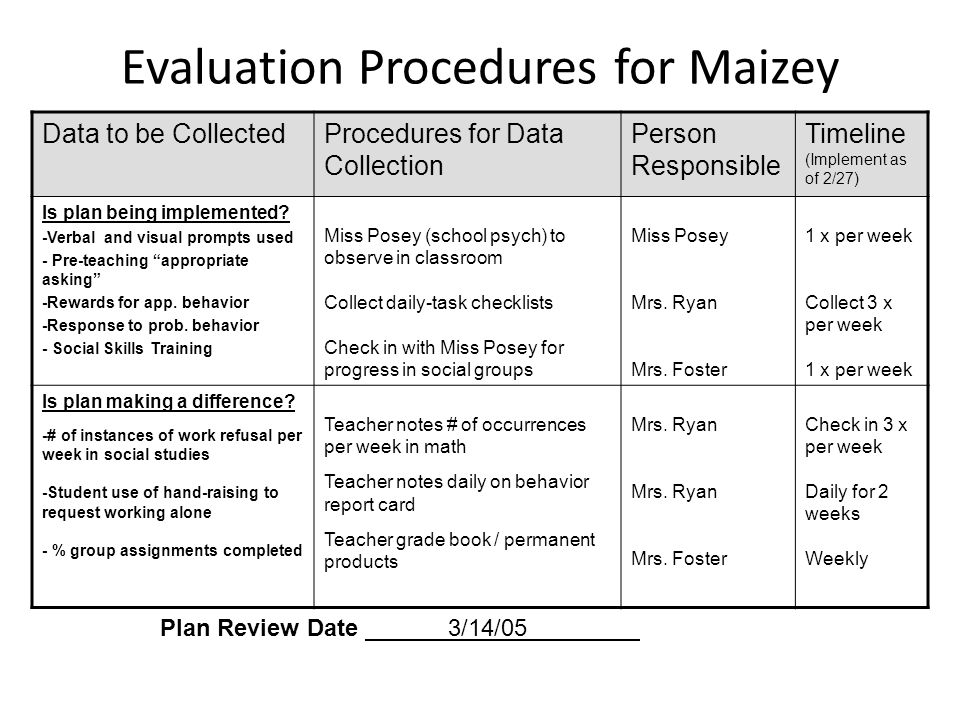 Evaluation Procedures for Maizey