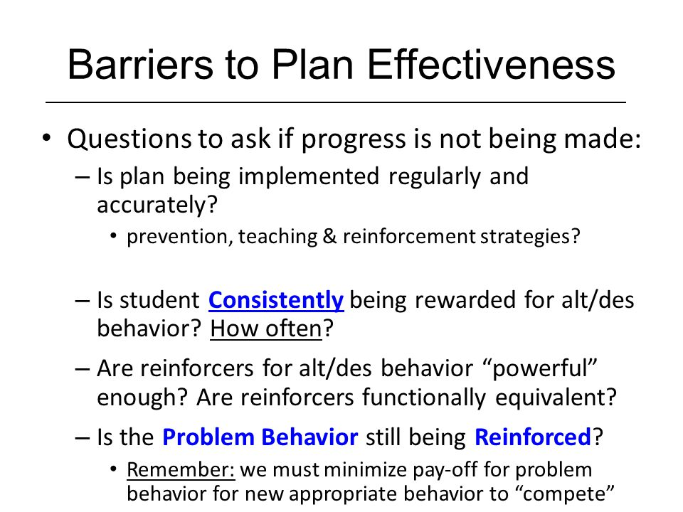 Barriers to Plan Effectiveness