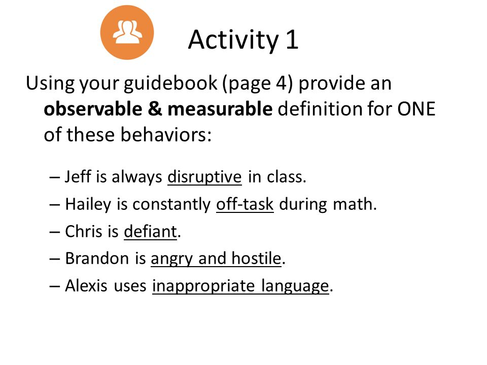 Activity 1 Using your guidebook (page 4) provide an observable & measurable definition for ONE of these behaviors: