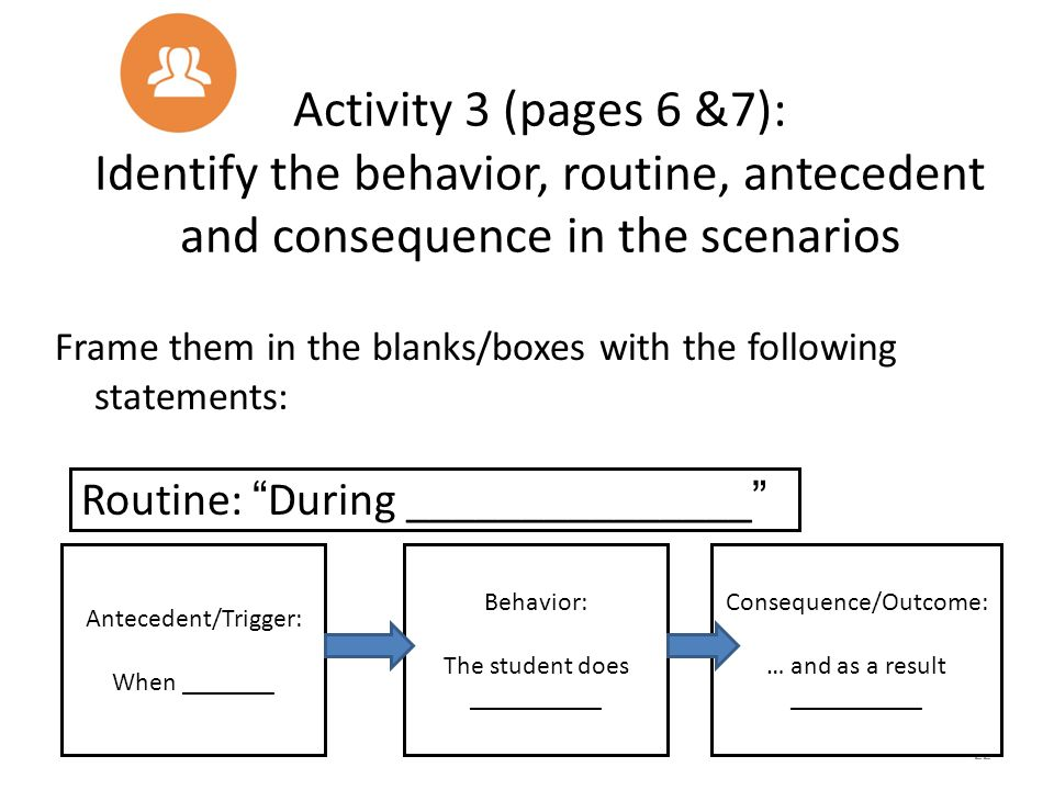 Activity 3 (pages 6 &7): Identify the behavior, routine, antecedent and consequence in the scenarios