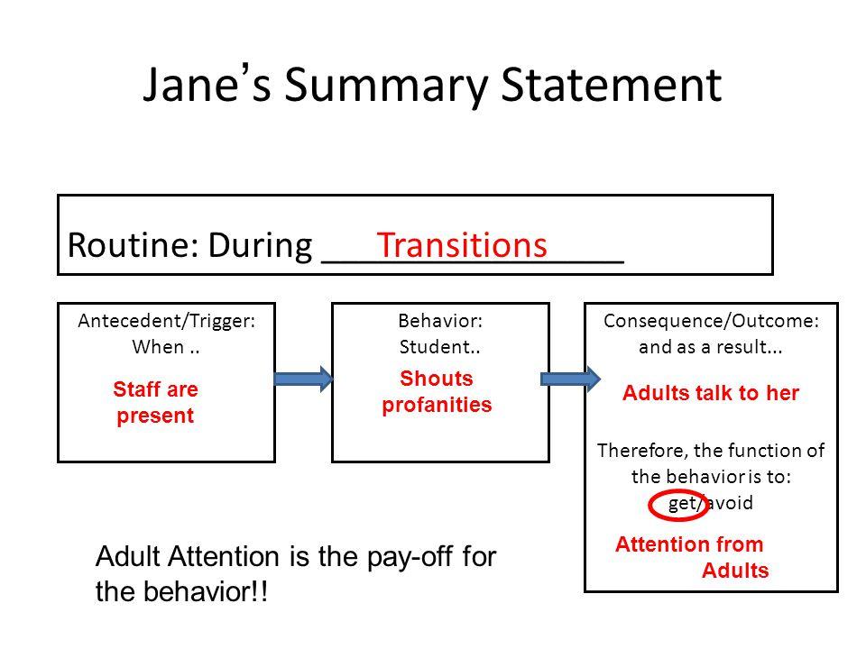 Jane's Summary Statement