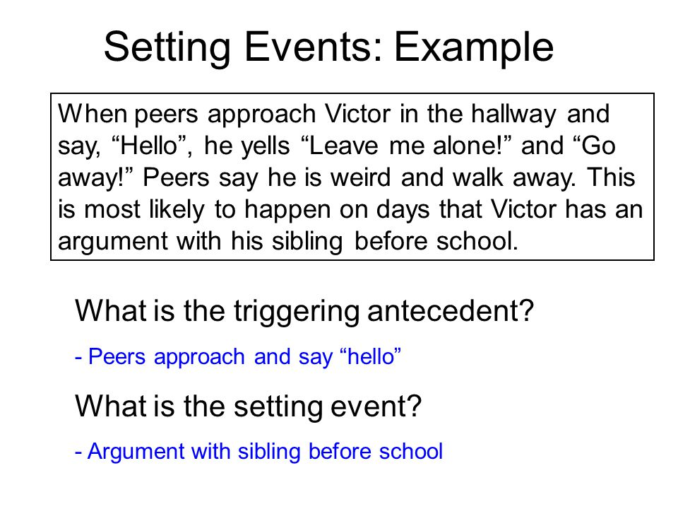Setting Events: Example