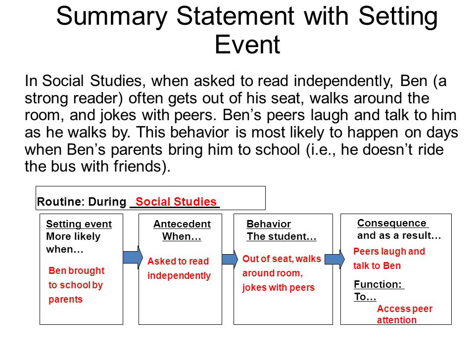 Summary Statement with Setting Event