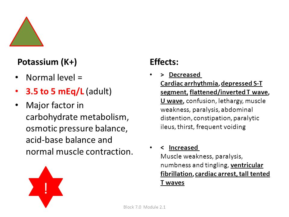 ! Potassium (K+) Effects: Normal level = 3.5 to 5 mEq/L (adult)