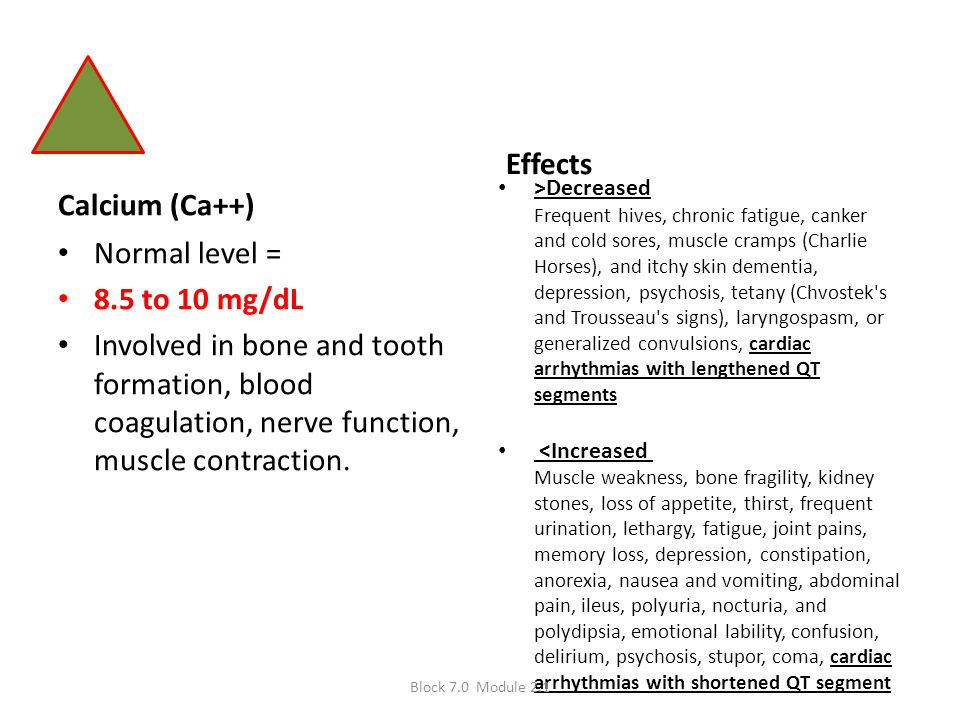 Effects Calcium (Ca++) Normal level = 8.5 to 10 mg/dL