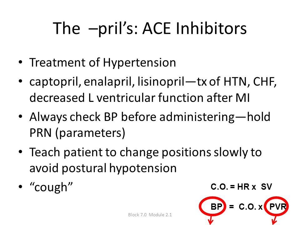 The –pril's: ACE Inhibitors