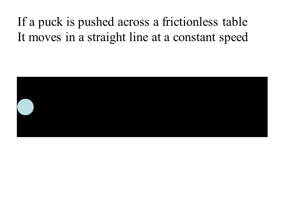 If a puck is pushed across a frictionless table