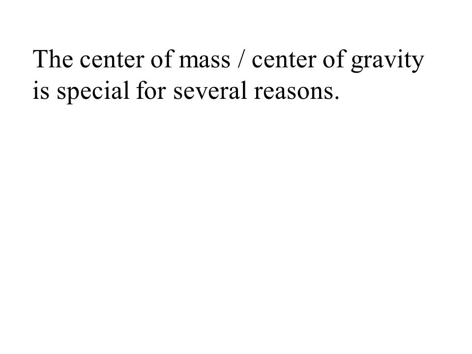 The center of mass / center of gravity