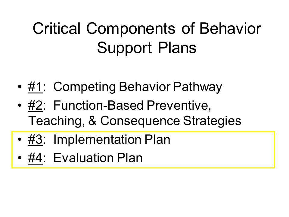 Critical Components of Behavior Support Plans