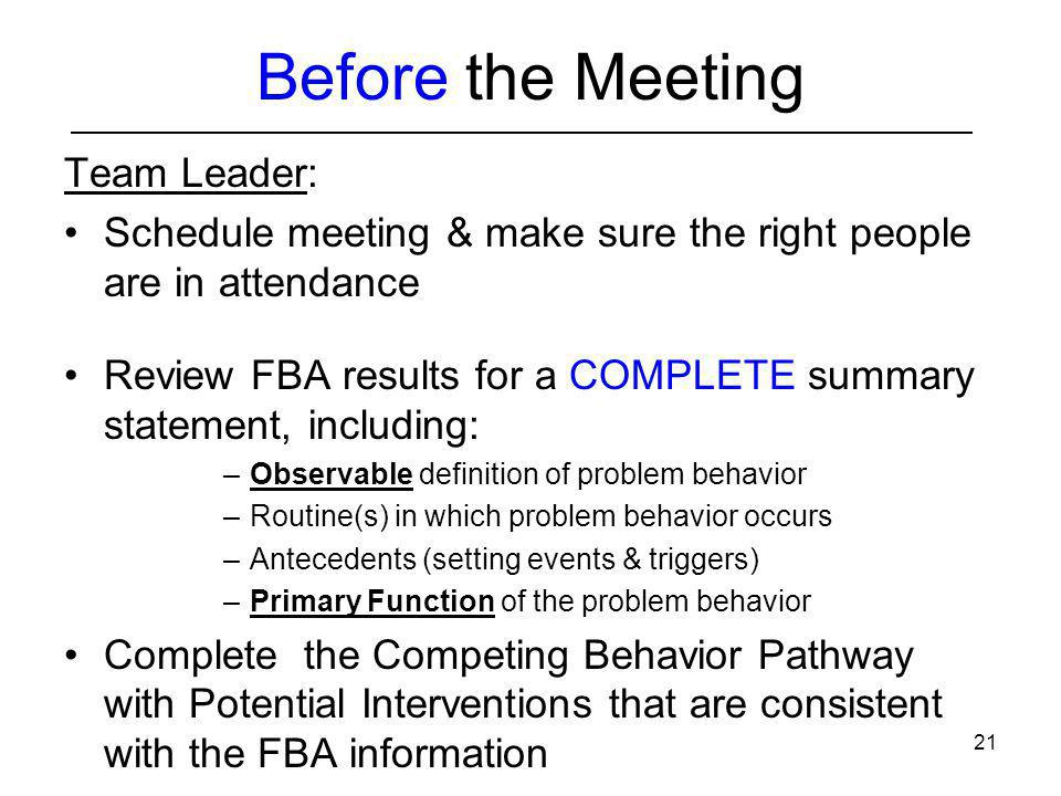 Before the Meeting Team Leader: