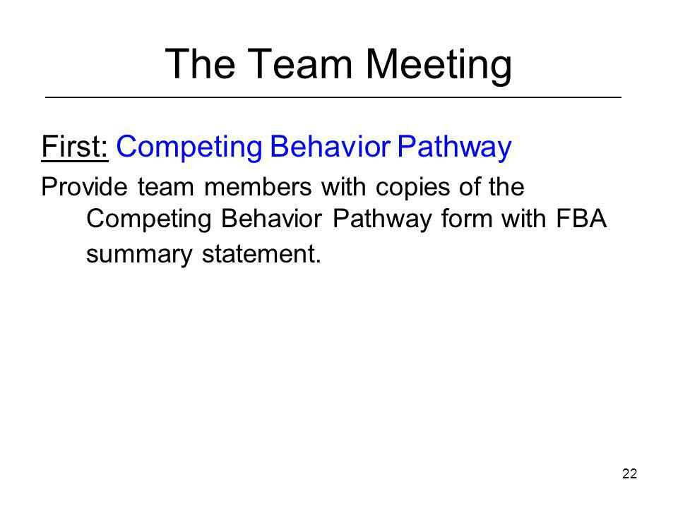 The Team Meeting First: Competing Behavior Pathway