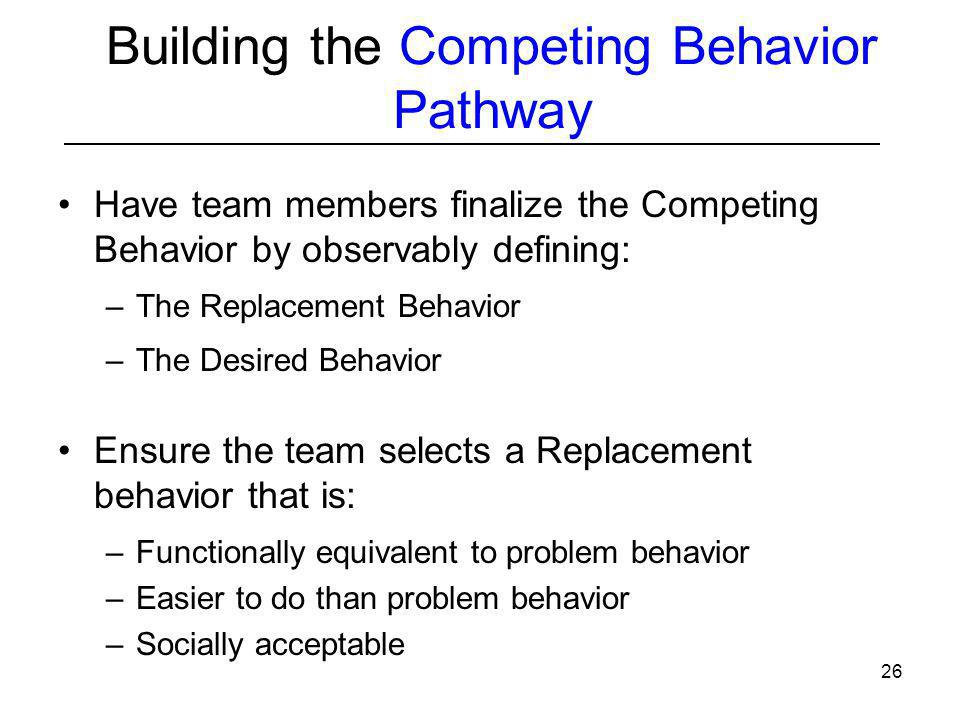 Building the Competing Behavior Pathway