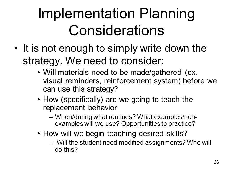 Implementation Planning Considerations