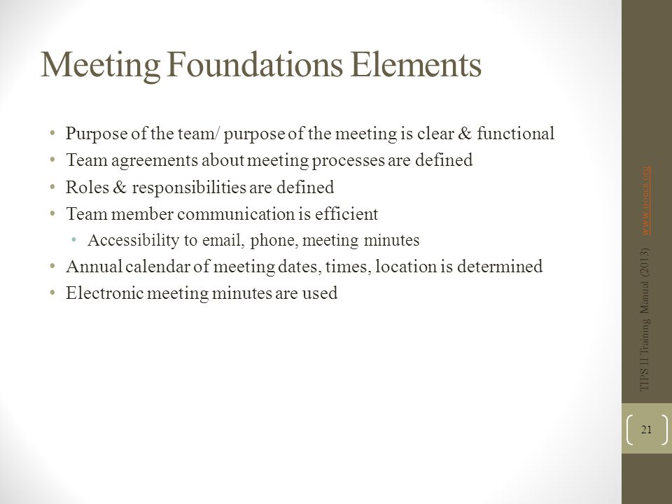 Meeting Foundations Elements