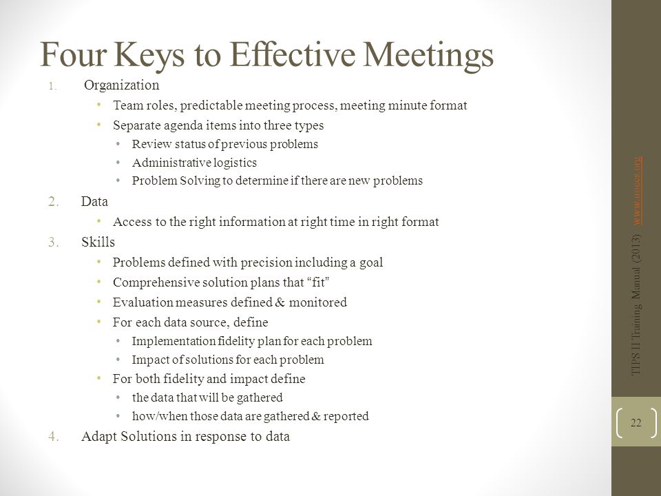 Four Keys to Effective Meetings