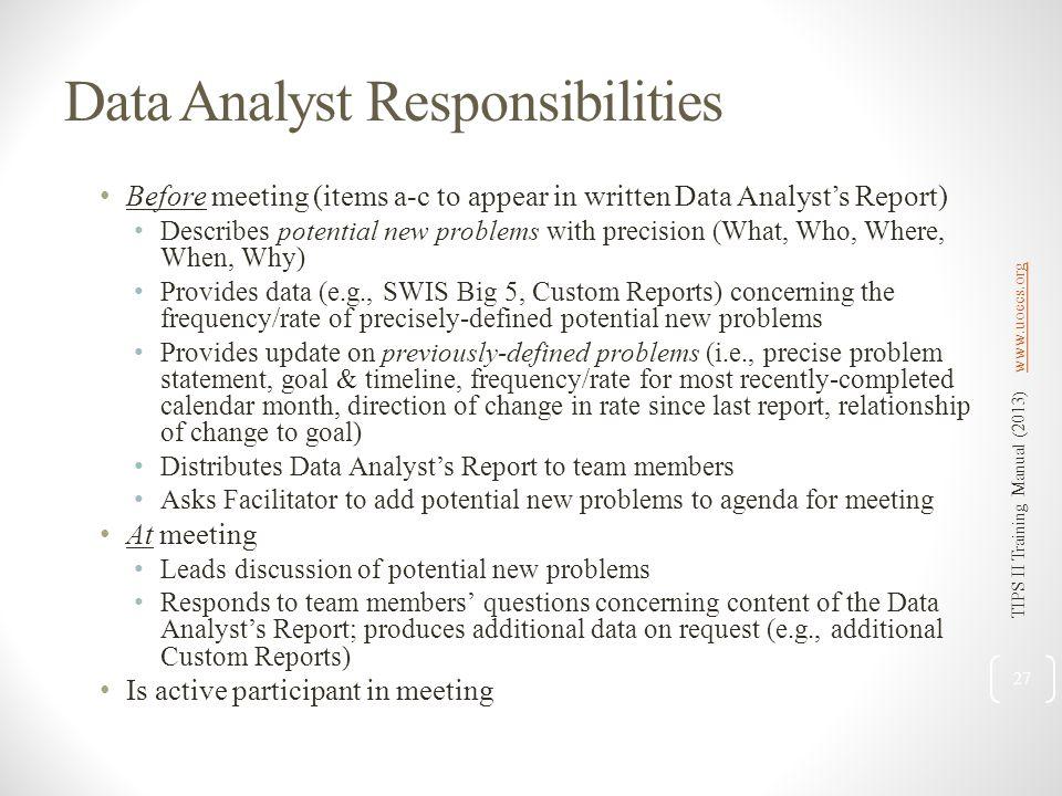 Data Analyst Responsibilities