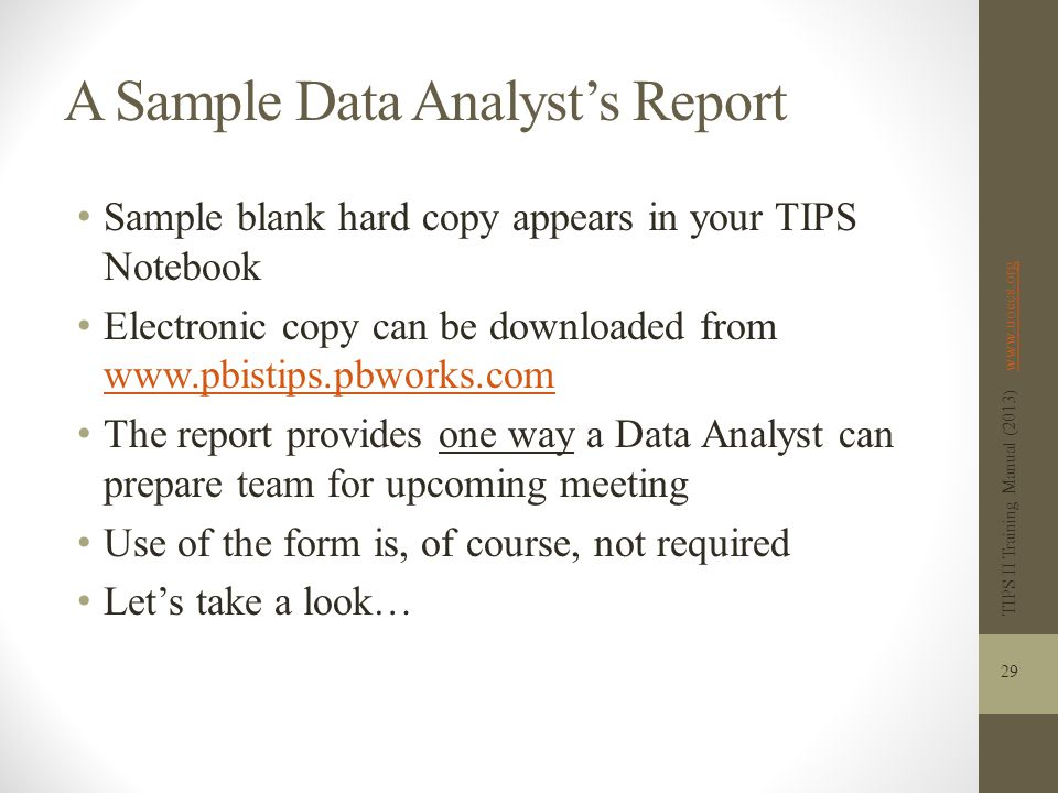 A Sample Data Analyst's Report