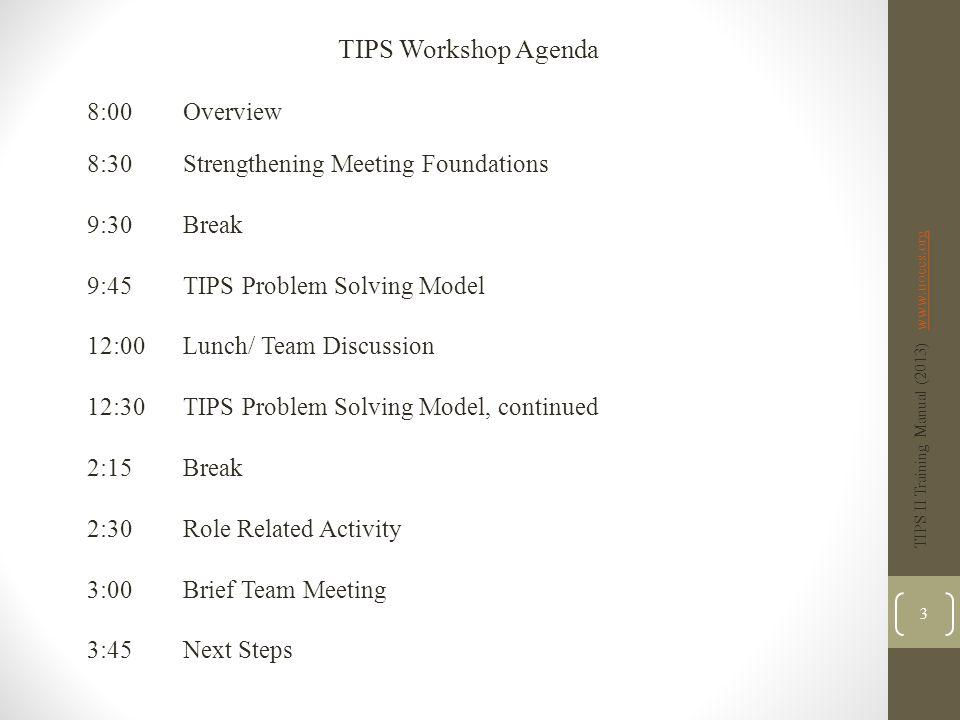 TIPS Workshop Agenda 8:00 Overview