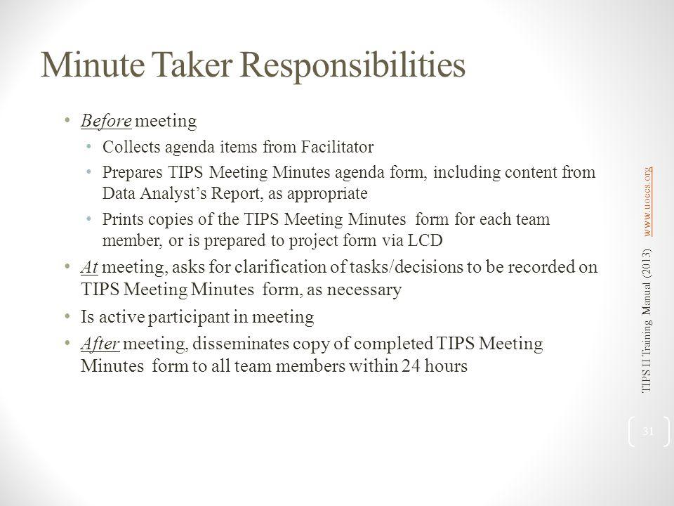 Minute Taker Responsibilities