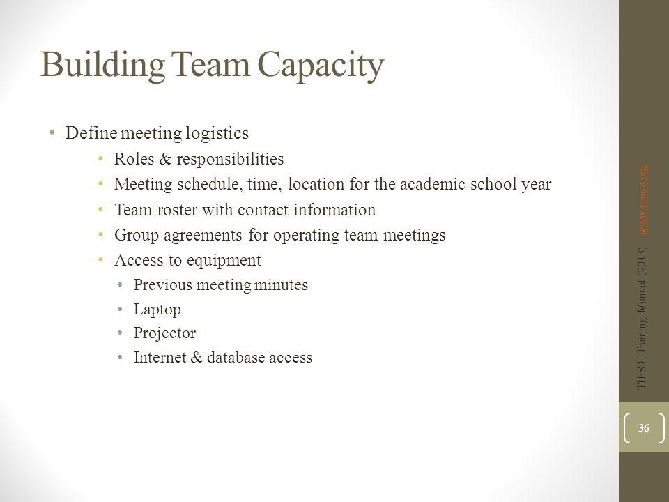 Building Team Capacity