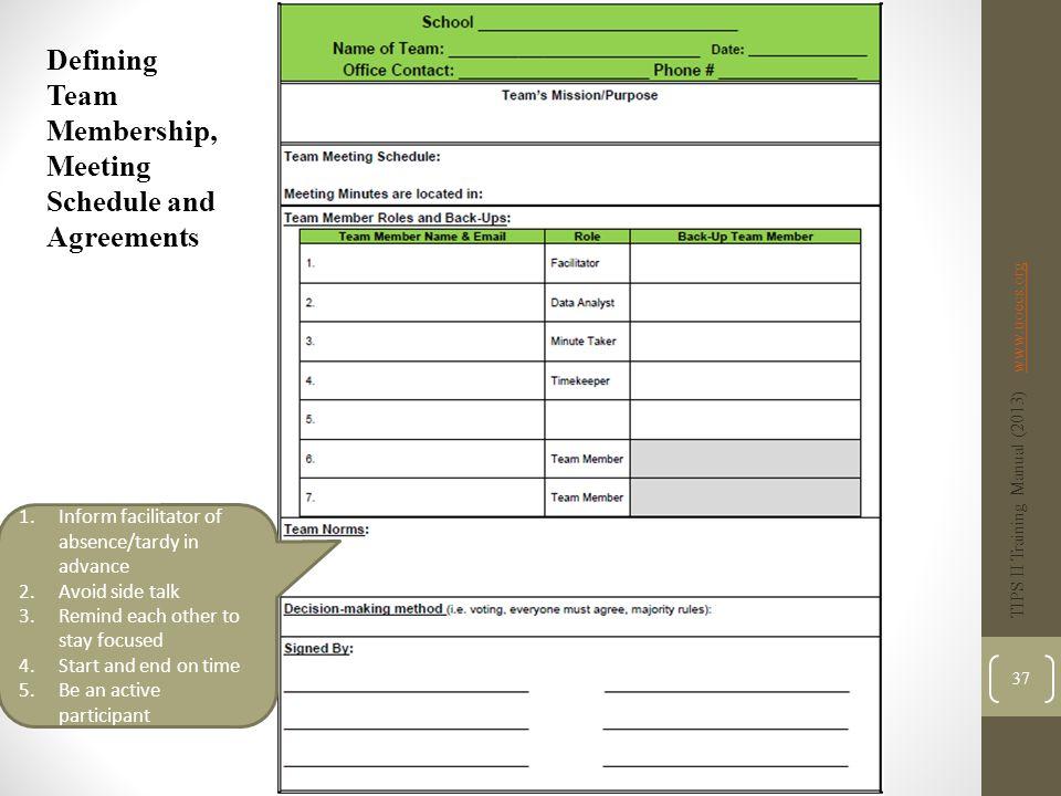 Defining Team Membership, Meeting Schedule and Agreements