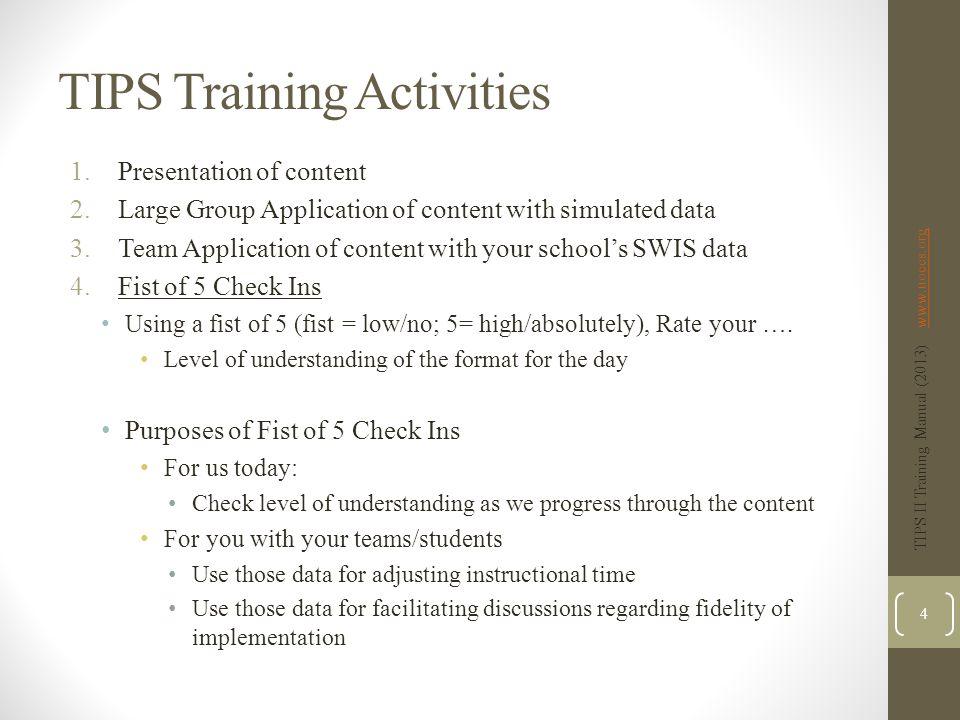 TIPS Training Activities