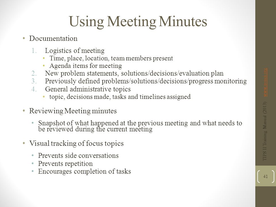Using Meeting Minutes Documentation Reviewing Meeting minutes