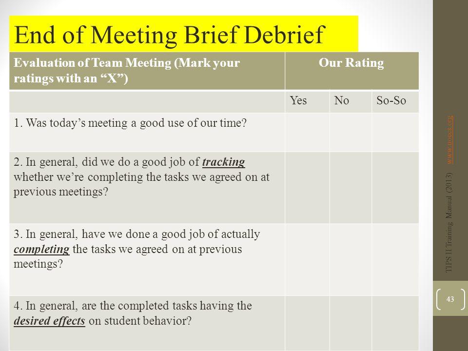 End of Meeting Brief Debrief