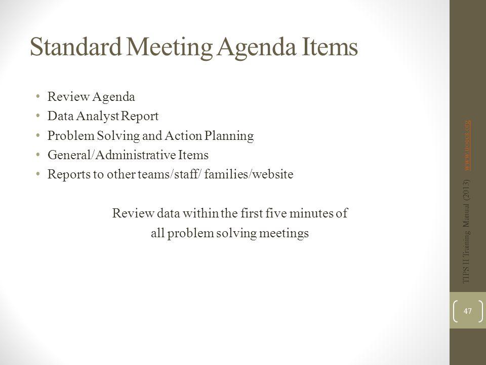 Standard Meeting Agenda Items