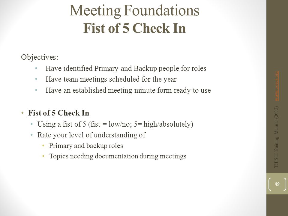 Meeting Foundations Fist of 5 Check In