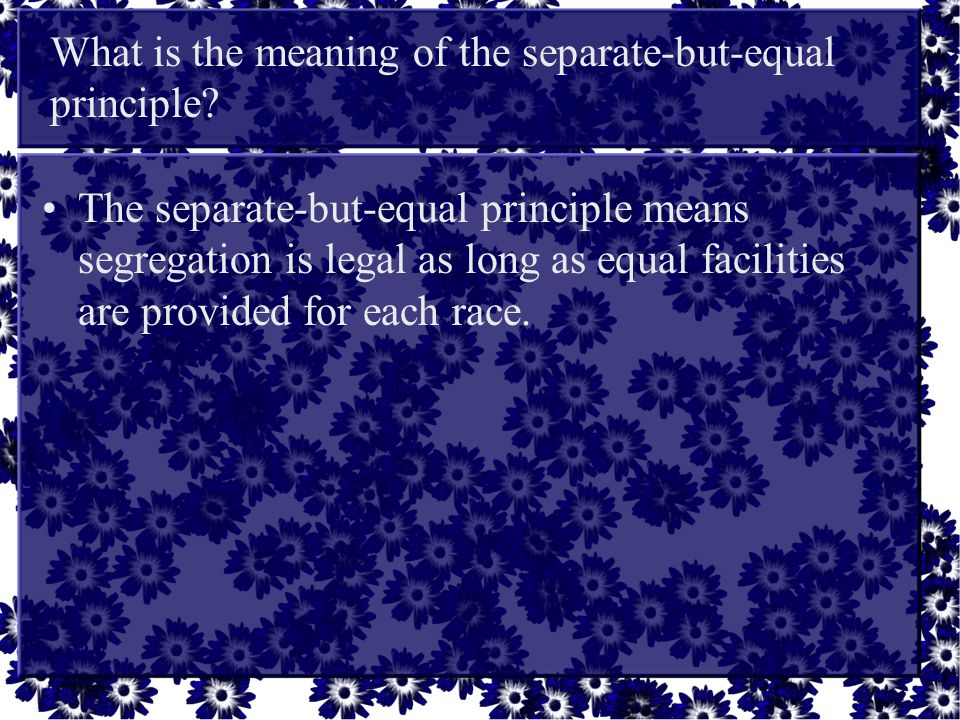 What is the meaning of the separate-but-equal principle