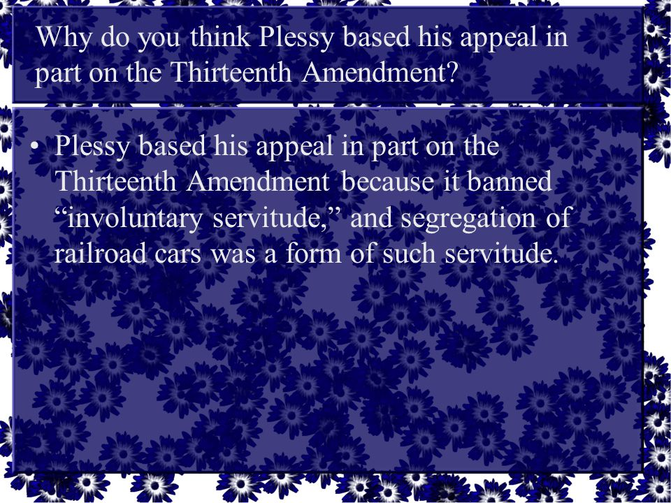 Why do you think Plessy based his appeal in part on the Thirteenth Amendment