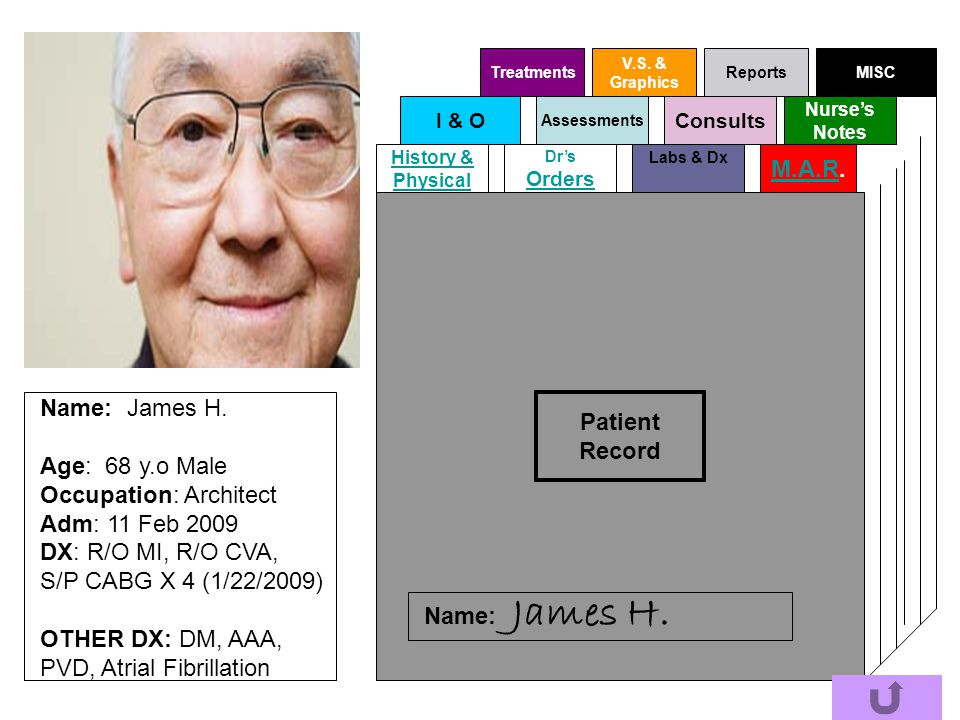 James H. M.A.R. Patient Record Name: James H. Age: 68 y.o Male