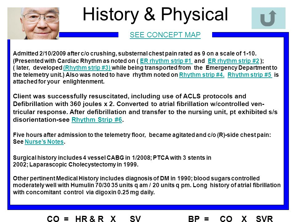 History & Physical CO = HR & R X SV BP = CO X SVR SEE CONCEPT MAP