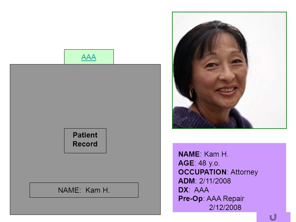AAA Patient. Record. NAME: Kam H. AGE: 48 y.o. OCCUPATION: Attorney. ADM: 2/11/2008. DX: AAA.