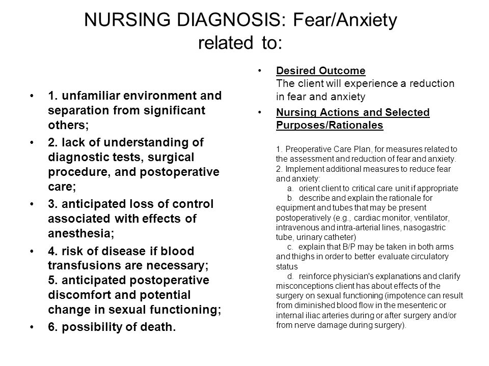 NURSING DIAGNOSIS: Fear/Anxiety related to: