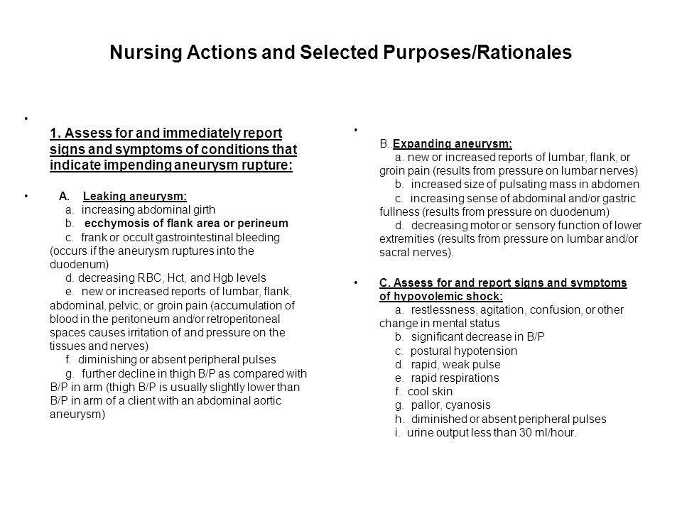 Nursing Actions and Selected Purposes/Rationales