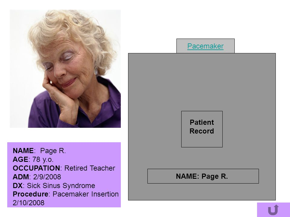 Pacemaker Patient. Record. NAME: Page R. AGE: 78 y.o. OCCUPATION: Retired Teacher. ADM: 2/9/2008.