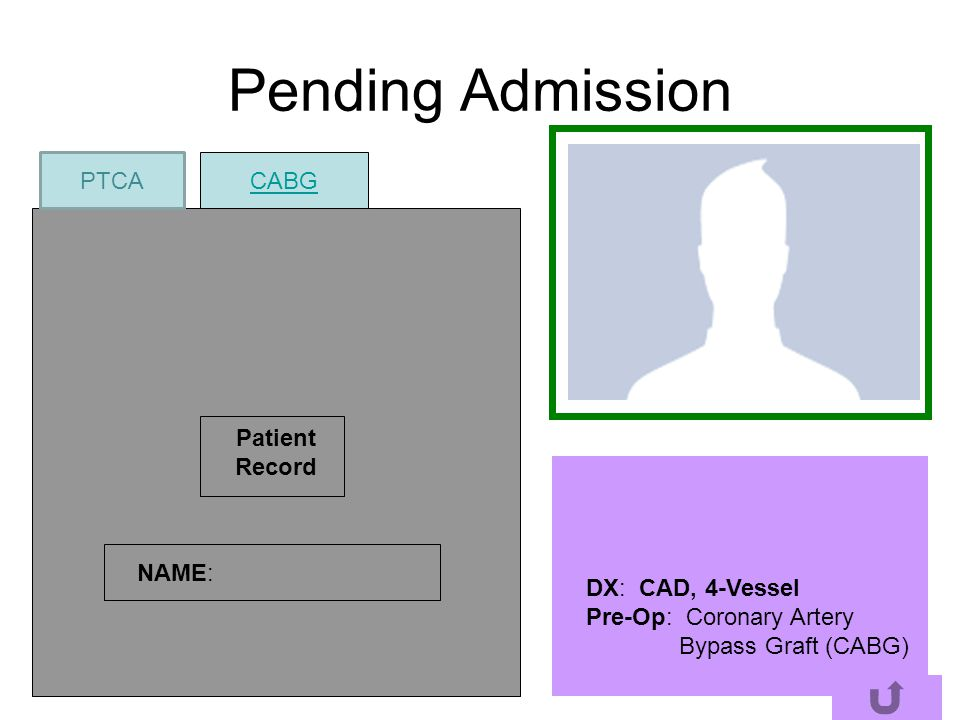 Pending Admission PTCA CABG Patient Record NAME: DX: CAD, 4-Vessel