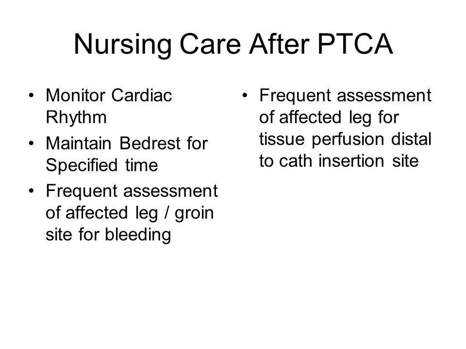Nursing Care After PTCA