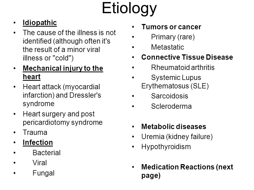 Etiology Idiopathic. The cause of the illness is not identified (although often it s the result of a minor viral illness or cold )