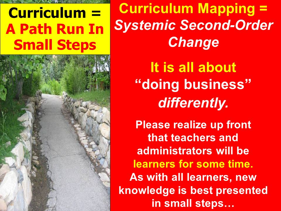 Curriculum Mapping = Systemic Second-Order Change